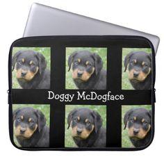 #Doggy McDogface Rottweiler Puppy Computer Sleeve - #rottweiler #puppy #rottweilers #dog #dogs #pet #pets #cute