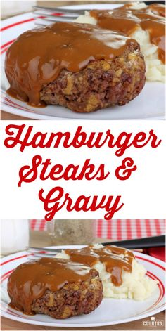 Hamburger Steaks and Gravy are made with seasoned ground beef patties, peppers, onion and are simmered in a deliously thick brown gravy! Hamburger Steaks and Gravy - Hamburger Steaks and Gravy recipe from The Country Cook Hamburger Steaks, Hamburger Steak Recipes, Beef Meals, Hamburger Dishes, Beef Welington, Sirloin Recipes, Beef Sirloin, Hamburger Patties, Beef Tenderloin