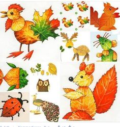Creative Ideas on Leaf ArtHere is a group of creative stone art design that is really inspiring.Lovely ideas for kids - made from leaves in autumnCollect the leaves of all shapes around you, they are the gifts from God. Check out these super cute ani Autumn Crafts, Autumn Art, Nature Crafts, Leaf Projects, Art Projects, Diy For Kids, Crafts For Kids, Leave Art, Leaf Animals