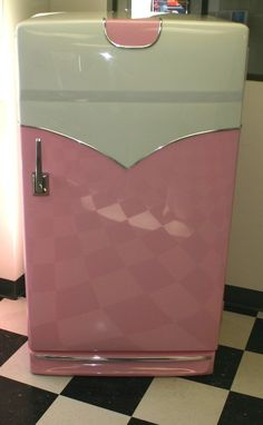 Pink, Rock and Roll / Diner Style, Retro 1950's 1960's Kitchen Fridge