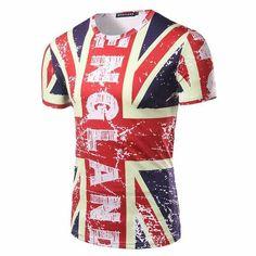 Men t shirts swag UK Flag Male Slim Fit Man T-Shirts Skateboard
