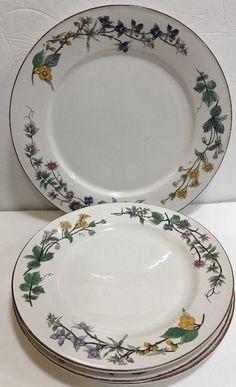 "Woodhill Citation 4 Dinner Plates Floral Rim Smooth Edge & Brown Trim 10 1/2"" D"