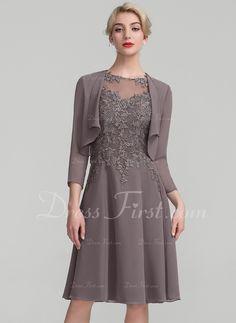 da8e3fdb50d40 A-Line Princess Scoop Neck Knee-Length Chiffon Lace Mother of the Bride