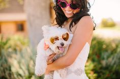 A Bride and her pup in matching shades | Read More: http://www.stylemepretty.com/california-weddings/2014/04/23/pink-orange-san-luis-obispo-wedding-at-windfall-farms/