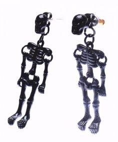 Punk Skull Skeleton Full Black Cool Stud Earrings Skull Bracelet, Skull Jewelry, Punk Earrings, Dangle Earrings, Human Skeleton, Brand Me, Punk Fashion, Piercings, Dangles