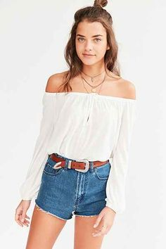 Ecote Pom Pom Trim Cold Shoulder Blouse - Urban Outfitters