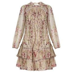 Zimmermann Winsome Sphere Floral Print Silk Dress ($1,504) ❤ liked on Polyvore featuring dresses, brown dress, floral dresses, flower print dress, flower design dresses and silk floral dress