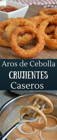 Estos aros de cebolla son extra crujientes y te dejaran con ganas de comer mas! Mexican Food Recipes, Vegan Recipes, Cooking Recipes, Vegan Meals, Diet Recipes, Comida Diy, Salty Foods, I Foods, Love Food