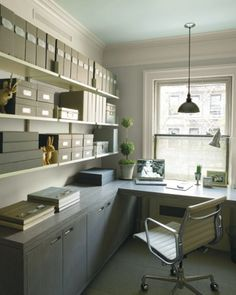 love the neutral palette in this home office