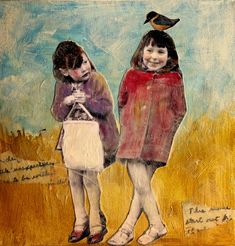 Pals sweet friendship two vintage girls original painting Collage Art Mixed Media, Mixed Media Painting, Art Journal Inspiration, Painting Inspiration, Collages, Kunst Online, Creation Photo, Photocollage, Encaustic Art
