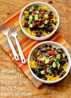Vegan Spaghetti Squash and Black Bean Mexican Bowl