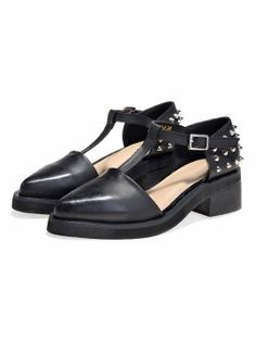 Shop Black Studded T-bar Pointed Flat Shoes from choies.com .Free shipping Worldwide.$55.99