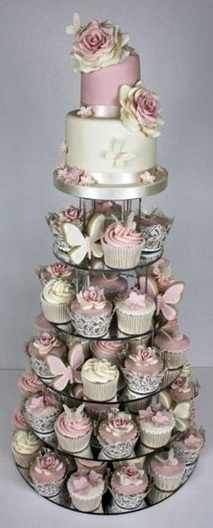 Wedding cake, pink, off white, lavender and silver. would be beautiful with deep purple accented wedding... by aracisgon