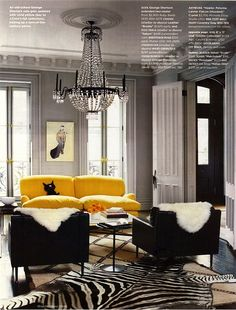 Jenna Lyons home, beautiful. I love the pop of color and the zebra skin.