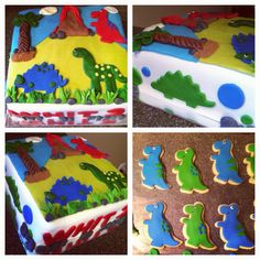 Dinosaur cake and cookies