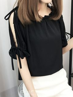 Ericdress Cold Shoulder Plain Lace-Up Blouse Stylish Work Outfits, Stylish Dresses For Girls, Stylish Tops, Cute Casual Outfits, Fancy Dress Design, Sleeves Designs For Dresses, Fancy Tops, Crop Top Outfits, Professional Outfits
