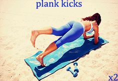 plank kicks -- hold a plank position for a 5 count, then lift one leg slightly up and hold for kick it out to your side and hold for then bring it back in and hold for 5 before dropping it back down to the ground. repeat for each side. Fit Board Workouts, Easy Workouts, Workout Tips, Fitness Tips, Health Fitness, Easy Fitness, Fitness Workouts, Perfect Abs, Gym Rat