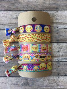 Emoji Variety pack foe elastic hair ties,fun hair ties cheap hair ties,Emoji Birthday Favors,5pk Hair ties,Sleep over favors,slumber party by GlamGirlGoodies on Etsy
