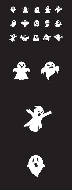 15 Ghost Icons. Photoshop Shapes