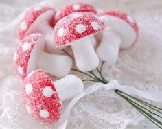 Glittered Spun Cotton Mushroom Ornaments - Set of 6