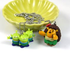 Toy Story Aliens and Mr. Pricklepants Necklace - Toy Story, Disney Necklace, Kids Necklace, Toys Jewelry, Three Eye Aliens
