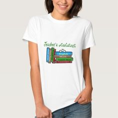 "Teacher's Assistant Gifts ""Stack of Books"" Tee Shirt"
