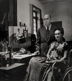 Frida Kahlo with the doctor Juan Farill,byGisèle Freund, 1951 ©Frida Kahlo Museum