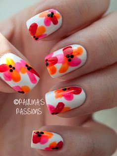 Tropical Flower nail art: five color colour design: white base with neon pink and orange (Claire's) and red (Hema) flowers #summer #spring #neon #nailart #manicure 2013 | Paulina's Passions