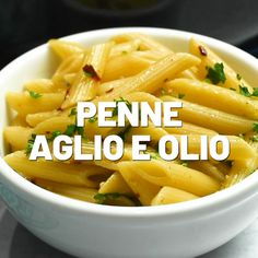 This penne aglio e olio is an easy twist on a classic pasta dish. Serve this easy pasta recipe as a simple side dish or as dinner for meatless Monday! Add whatever meat you want - shrimp and chicken a Pasta Recipes Video, Penne Pasta Recipes, Healthy Pasta Recipes, Healthy Pastas, Vegetarian Recipes, Cooking Recipes, Simple Pasta Recipes, Shrimp Recipes, Pasta Side Dishes
