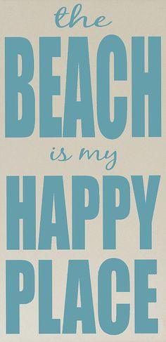Cream & Ocean Blue 'Beach is My Happy Place' Plaque