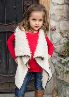 Girls Open Front Fur Vest with Leather Trim Cream - Ryleigh Rue Clothing by Modern Vintage Boutique