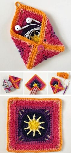 Granny Square Pouch or Coin Purse Free Crochet Pattern Knitting For BeginnersKni. Granny Square Pouch or Coin Purse Free Crochet Pattern Knitting For BeginnersKnitting HatCrochet Pa Clutch En Crochet, Crochet Pouch, Crochet Gifts, Cute Crochet, Crochet Stitches, Knit Crochet, Crochet Bags, Crochet Coin Purse, Afghan Crochet