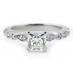 Sooo beautiful! Vintage Style Princess Cut Engagement Ring by SerenadeDiamonds, $1125.00
