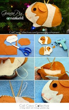 Guinea pig DIY felt ornament tutorial Guinea pig DIY felt ornament tutorial Image Size: 399 x 640 Source Pig Crafts, Crafts For Kids, Arts And Crafts, Felt Christmas Ornaments, Christmas Crafts, Xmas, Diy Ornaments, Christmas Christmas, Christmas Nativity
