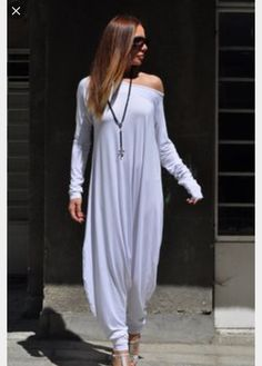 New Colection-Extra Long Sleeves White Jumpsuit / Cotton Union Suit / Loose Casual Black Drop Crotch Harem Pants by Eug Fashion White Long Sleeve Jumpsuit, Baggy Jumpsuit, White Jumpsuit, One Shoulder Jumpsuit, Cotton Jumpsuit, Summer Jumpsuit, Jumpsuit Dress, Ladies Jumpsuit, Short Jumpsuit