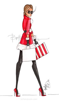 Brittany Fuson | fashion illustration | Christmas | holiday | Christmas cards | cocktail party | unique Christmas cards | Santa Unique Christmas Cards, Christmas Art, Christmas Illustration, Illustration Art, Santa Suits, Creative Embroidery, Fashion Design Sketches, Christmas Paintings, Fairy Art