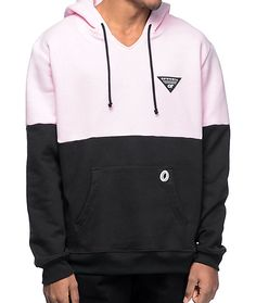 Pink is the new black or at least looks awesome with it. The OFWGKTA colorblocked hoodie features a pastel pink upper chest sleeves and hood paired with a black bottom half torso and sleeves. This pullover hoodie is finished off with the OFWGKTA triangle