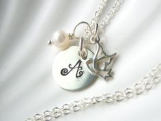 Initial Dove & Birthstone Necklace  by AkulaHopeDesigns on Etsy, $30.00