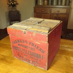 Wonderful Early Old Antique FARMER'S FRIEND Wooden Egg Crate Box - Old Red Paint - Quincy IL & Sharon, NY #HannahsHouseAntiques #RubyLane https://www.rubylane.com/item/497177-9541/Early-Antique-FARMERx27S-FRIEND-Wooden-Egg