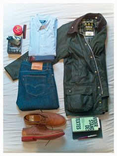 barbour - beaufort polo ralph lauren - custom fit levis 510 good guys(don't wear leather) - bowly comme des garcons - wonderwood asos - belt sweet georgia brown pomade (fuck your fancy beanies!!)
