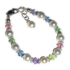 """Sterling Silver Children's Bracelet for Girls with Freshwater Pearls & Pastel Crystals in Gift Box, 1-5 years (5 - 5.5"""" adjustable) Tiny Treasures. Save 31 Off!. $27.00"""