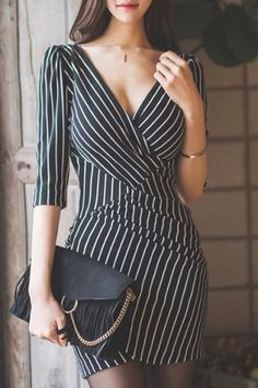 OL Style V-Neck Half Sleeve Bodycon Striped Dress For Women