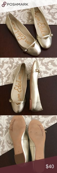 Sam Edelman Ballet Flats BNWOT in box, champagne/gold ballet flats w/cute strap & buckle.  Size 7 Sam Edelman Shoes Flats & Loafers