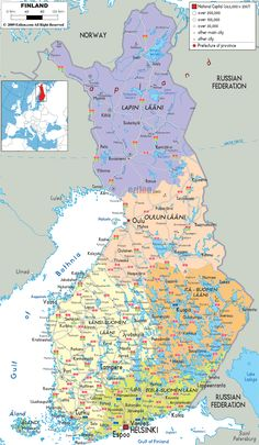 Detailed Political Map of Finland Finland Map, Treaty Of Paris, Old Maps, Cartography, Helsinki, Four Seasons, Politics, Planes, Inspirational Quotes