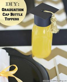 DIY Graduation Cap Bottle Toppers