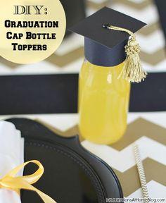 DIY :: GRADUATION CAP BOTTLE TOPPERS #graduation #diy