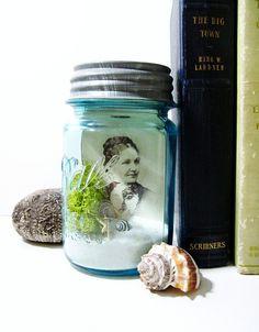 Mason Jar Terrarium: Moss, Seashells, and Lichens - Ball Atlas Blue Glass Jar with Zinc Lid & Beach Scene. via Etsy.