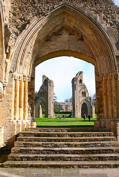 Glastonbury Abbey ruins, Glastonbury, Somerset, England. From at least the 12th century the Glastonbury area was frequently associated with the legend of King Arthur, a connection promoted by medieval monks who asserted that Glastonbury was Avalon. Christian legends have also claimed that the abbey was founded by Joseph of Arimathea in the 1st century.