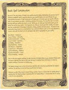 Book of Shadows 3 pages about Basic Spell Construction