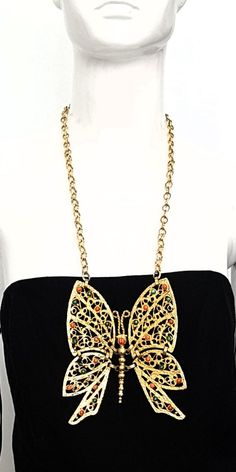 Vintage 60's DEC Juliana Delizza Elster ITALY Huge Gold 'Swinging' BUTTERFLY Statement Pendant Necklace w Turquoise & Red Coral Stones